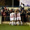 Los jugadores del Huracán CF celebran un gol durante el último encuentro ante el Gimnàstic de Tarragona. Foto: Huracán CF