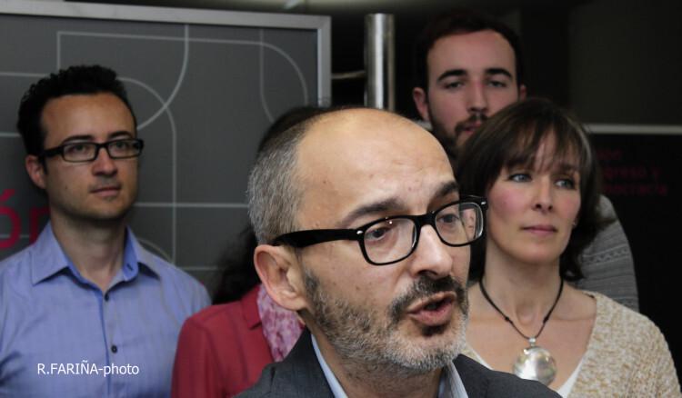 Eduardo Gómez, durante la presentación de su lista de candidatos al Ayuntamiento de Valencia el pasado mes de abril. Foto: R. Fariña
