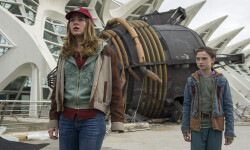 Disney's TOMORROWLAND  L to R: Casey (Britt Robertson) and Athena (Raffey Cassidy)  Ph: Kimberley French  ©Disney 2015