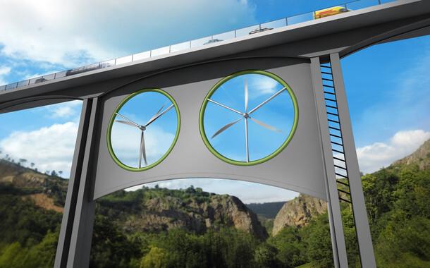 Propuesta para instalar dos turbinas eólicas iguales bajo un viaducto. / José Antonio Peñas (Sinc