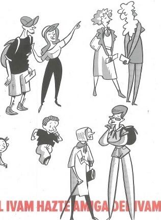 Dibujo de Sento Llobell para impulsar la campaña de proximidad a los ciudadanos al IVAM.