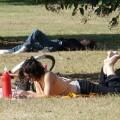 Gente descanso en un parque.