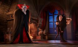 Vlad (Mel Brooks), Mavis (Selena Gomez), Dracula (Adam Sandler) and Johnny (Andy Samberg) in Columbia Pictures' HOTEL TRANSYLVANIA 2.