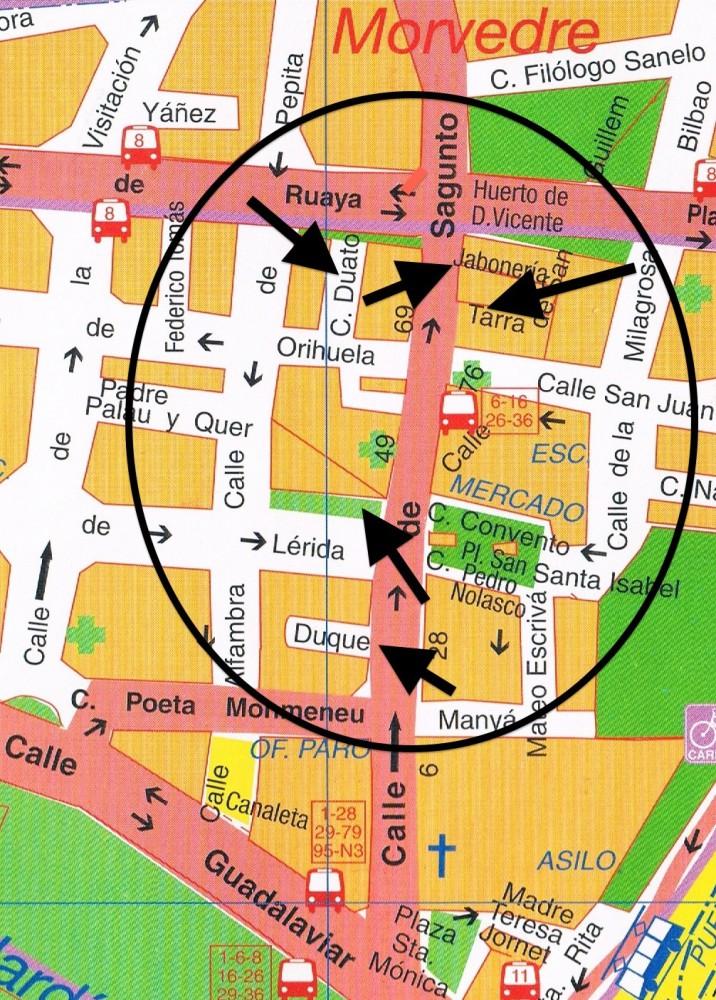 Plano de vías de la calle de Sagunto