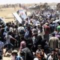 Sirios cruzando la frontera de Turquía