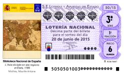 Sorteo de Lotería Nacional 20 de junio de 2015 viñeta del decimo