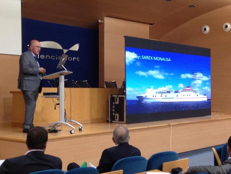 Ponencia explicativa previa al simulacro, en la sede de la Autoridad Portuaria de Valencia.