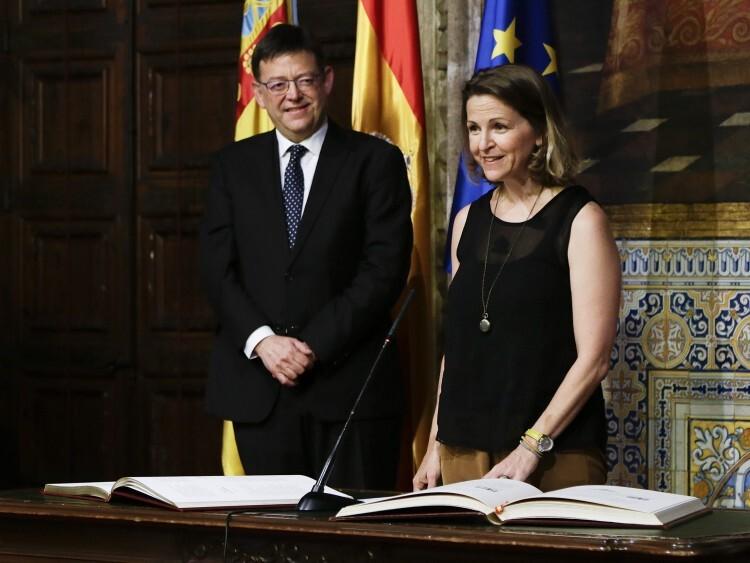 Elena Cebrián durante la toma de posesión como consellera de Agricultura, Medio Ambiente, Cambio Climático y Desarrollo Rural
