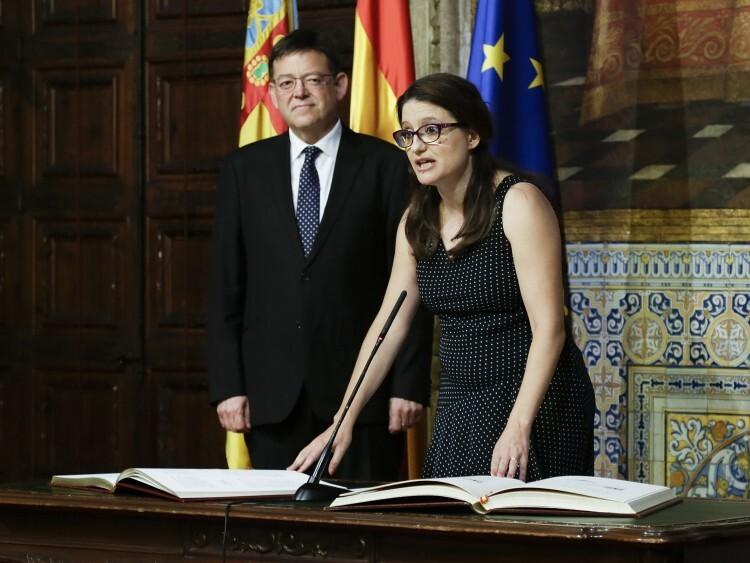 Mónica Oltra durante la toma de posesión como vicepresidenta, portavoz del Consell y consellera de Igualdad y Políticas Inclusivas