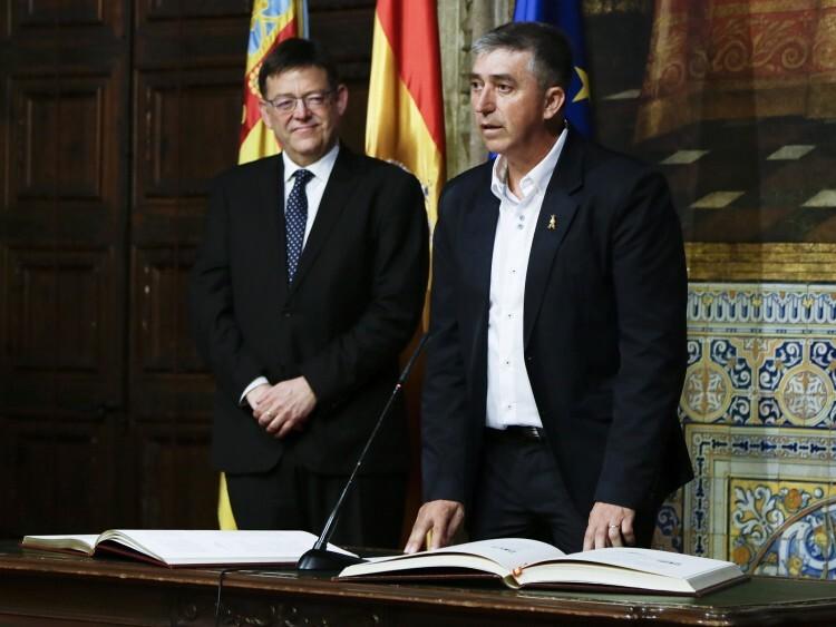 Rafael Climent durante la toma de posesión como conseller de Economía Sostenible, Sectores Productivos, Comercio y Trabajo