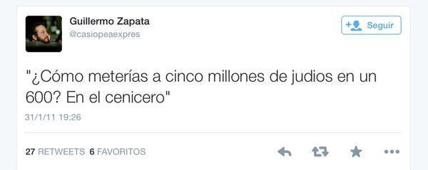Tuit publicado por Zapata en enero de 2011.