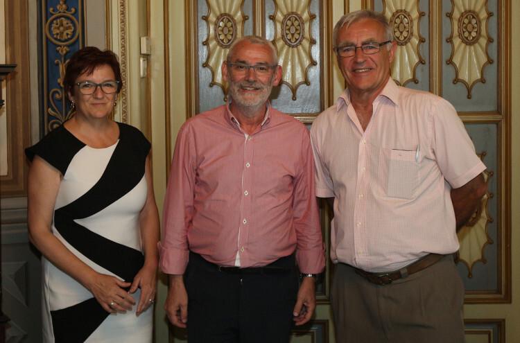 Reunión de Ribó con el alcalde de Alboraya, Miguel Chavarría.