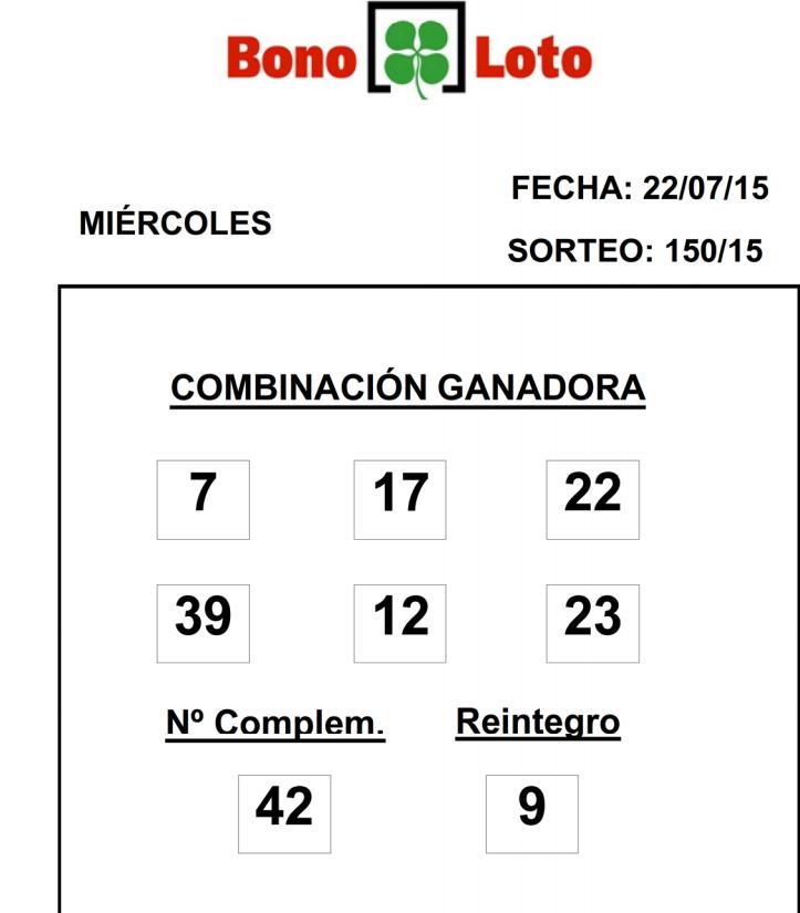 COMBINACIÓN GANADORA DEL SORTEO DE BONOLOTO DE FECHA 22072015