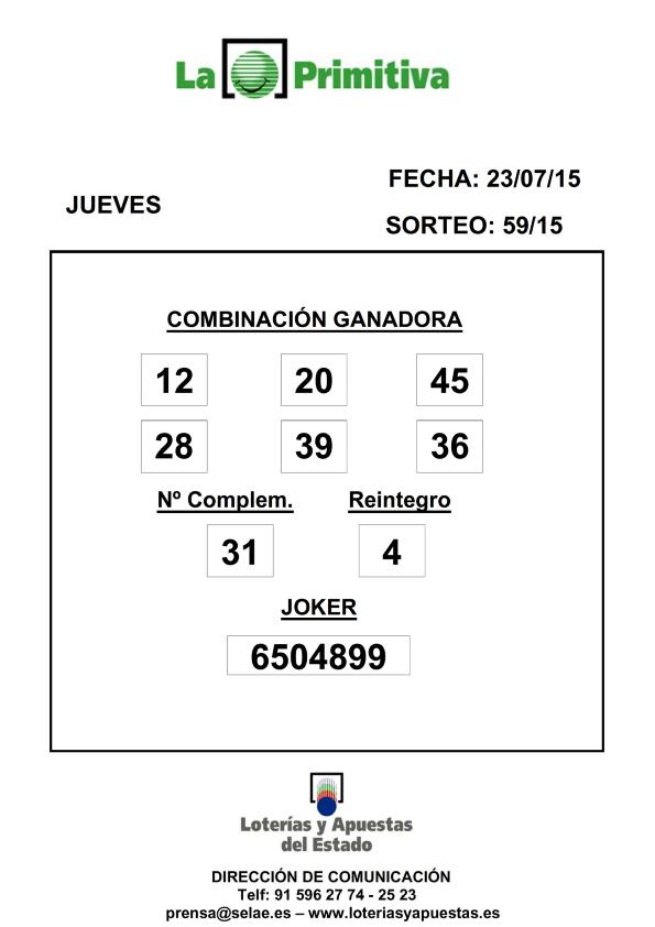 COMBINACION_GANADORA_LOTERIA_PRIMITIVA_DEL_JUEVES _23_7_15_001