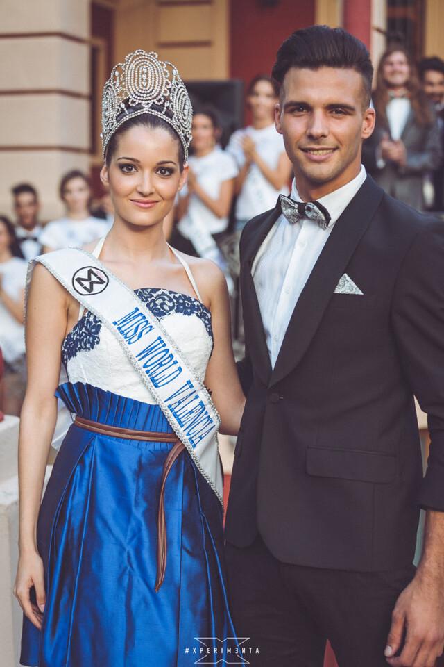 Cecilia Bellido, actual Miss World Spain junto a Sergio Tel, galardonado como Mister World TOP MODEL 2015 del área de Valencia.