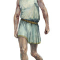Ilustración del rey Filipo II en sus últimos tres años, después de haber sido herido en su pierna izquierda por una lanza. Autor de la ilustración: Arturo Asensio.