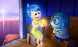 "Joy (voice of Amy Poehler) and Sadness (voice of Phyllis Smith) catch a ride on the Train of Thought in Disney•Pixar's ""Inside Out."" Directed by Pete Docter (""Monsters, Inc.,"" ""Up""), ""Inside Out"" opens in theaters nationwide June 19, 2015. ©2014 Disney•Pixar. All Rights Reserved."