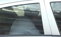 Jordi Sumarroca en el coche policial.