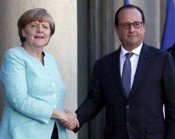 La canciller de Alemania, Angela Merkel, y el presidente de Francia, François Hollande.