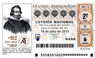 Sorteo de Lotería Nacional del 18 de julio - F.N.M.T. - Real Casa de la Moneda