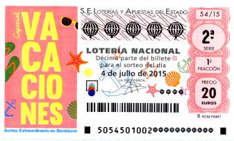 Sorteo de lotería nacional extraordinario de vacaciones benidorm 4 de julio de 2015