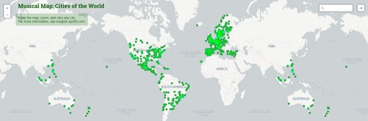 Spotify revela mapa musical