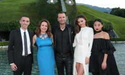 WATTENS, AUSTRIA - JULY 02: Alessandro Vergano, Senior Vice President of Swarovski, Nathalie Colin, Swarovski Creative Director & EVP, Robert Buchbauer, Swarovski Executive Board Member, Miranda Kerr, Margaret Zhang during the Swarovski new collection launch event on July 2, 2015 in Wattens, Austria. (Photo by Gisela Schober/Getty Images for Swarovski)