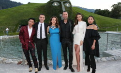 WATTENS, AUSTRIA - JULY 02: BryanBoy, Alessandro Vergano, Senior Vice President of Swarovski, Nathalie Colin, Swarovski Creative Director & EVP, Robert Buchbauer, Swarovski Executive Board Member, Miranda Kerr, Margaret Zhang during the Swarovski new collection launch event on July 2, 2015 in Wattens, Austria. (Photo by Gisela Schober/Getty Images for Swarovski)