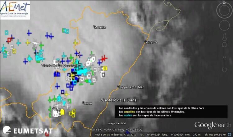 Mucha actividad eléctrica esta tarde en provincia de Castellón, estos son los rayos registrados entre 16:50 y 17:50. AEMET