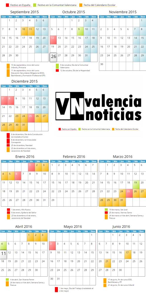 Calendario Escolar 2015   2016  Calendari curs  2015 - 2016  Comunitat Valenciana