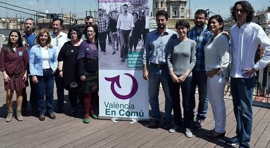 Componentes de la lista municipal de València en Comú. (Foto-G.Rodríguez).
