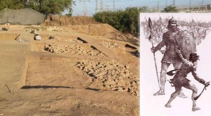 Derecha: Vista de las ruinas de puerta de Gat. Izquierda: David contra el gigante Goliat.