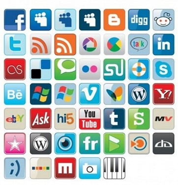 Diversos iconos de redes sociales.