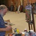 El artista en su taller.