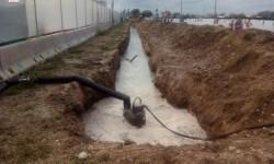 Imagen canal recogida aguas pluviales y electrobomba gran caudal del CPBC instalados en recinto