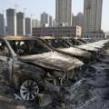 La explosión en Tianjin provocó destrozos en 500 metros a la redonda.