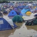 La zona de camping del Arenal Sound mostraba este aspecto ayer por la tarde.
