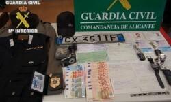 Objetos recuperados por la Guardia Civil de los robos de autopistas.