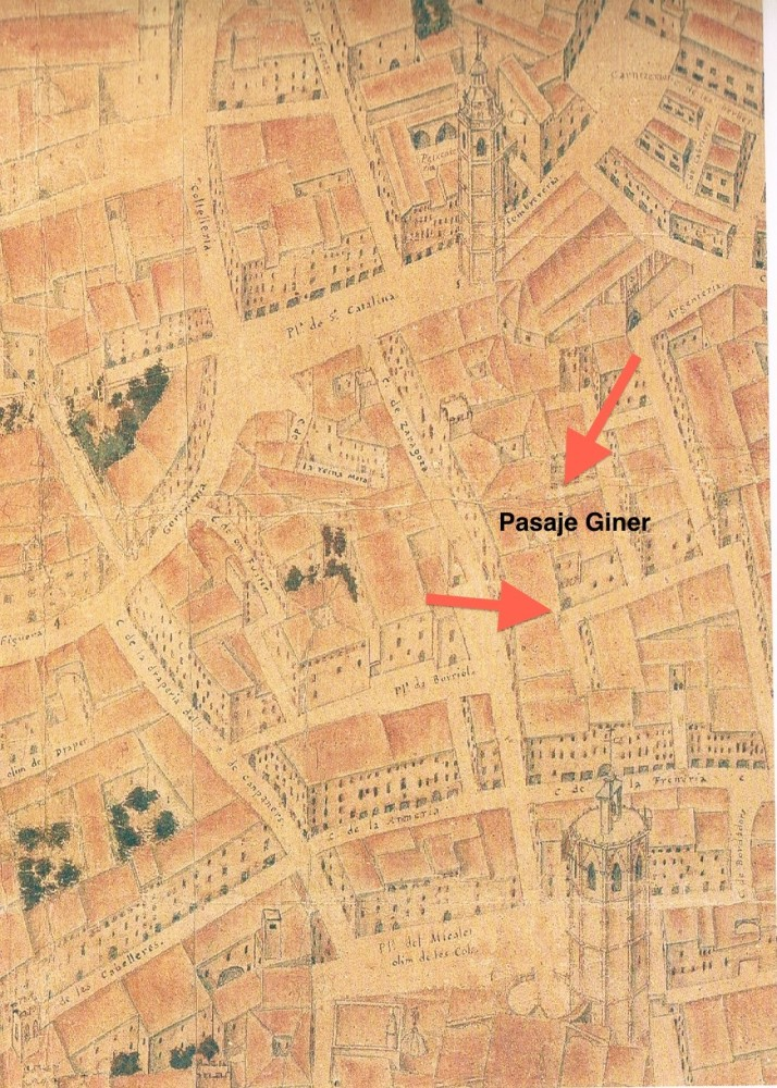 Pasaje de Giner. Plano de Tosca. S. XVIII