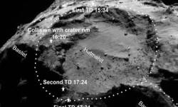 Puntos de aterrizaje de Philae, que rebotó sobre el cometa 67, indicados sobre unaimagencaptada por la sonda Rosetta. / ESA/ROSETTA/NAVCAM/SONC/DLR