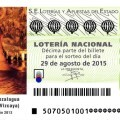 Sorteo de Lotería Nacional 29 de agosto de 2015