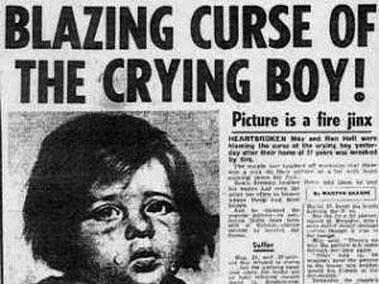 Titular de un periódico. La ardiente maldición del niño que llora