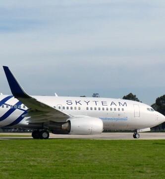 Un avión de la la compañía aérea Skyteam.