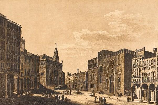 42 Plaça del Mercat. Gravat segle XIX.