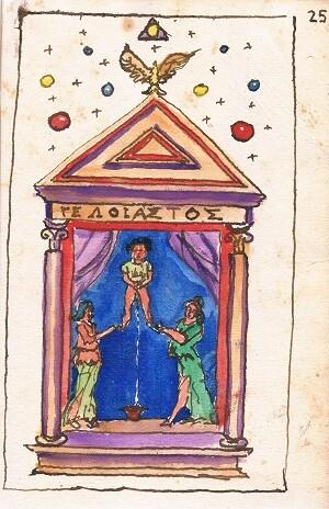 Dibujo en un manuscrito alquímico relativo al Mutus Liber.