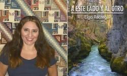 Elga Reátegui y la portada de su libro. (Foto-Valencia Noticias).