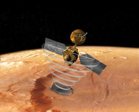 Representación artística del Mars Reconnaissance Orbiter en Marte./NASA/JPL