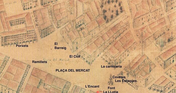Plànol de Tosca. El Mercat.