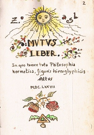 Portada apócrifa del Mutus Libert. Manuscrito.
