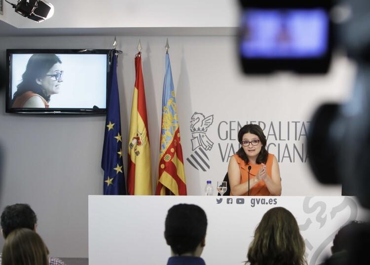 Rueda de prensa de la Vicepresidenta del Consell, Monica Oltra, posterior al pleno del Consell. Foto: J.A.Calahorro/GVA.